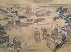 Original handpainted scroll painting depicting a Chinese dignitary and his retinue, signed and sealed – Japan – Early 19th century