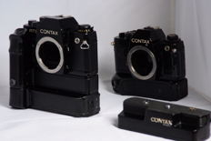 Contax RTS II and Contax 139 quartz bodies with three winders