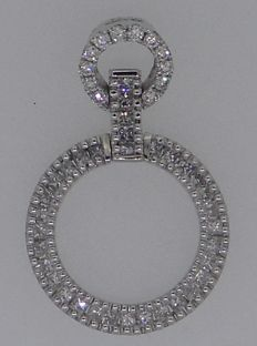 Handmade 18 kt white gold pendant set with brilliant & princess cut diamonds 0.55 ct