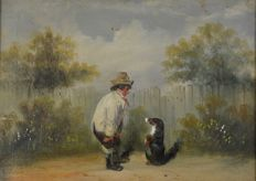 Unknown. (19th century) - A man teaching his dog new tricks.