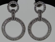 White gold earrings set with brilliant cut & princess cut diamonds 0.88 ct