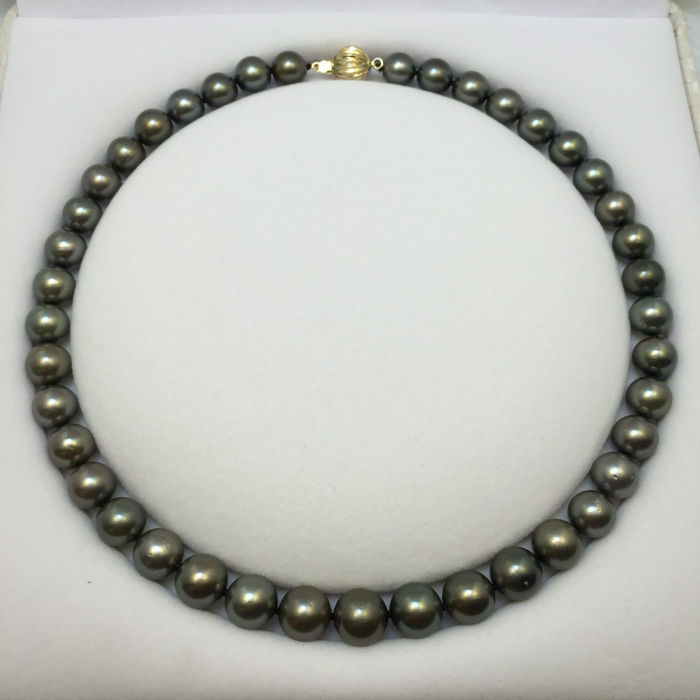 Tahiti Black Pearl Necklace 9.5-11.2 mm in diameter. Accessories: 14 K gold.