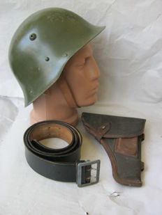Set original bulgarian  helmet - WW2,german officer belt - Bundeswerh, russian holster for TT (Tulski -Tokarev)  - 50 s.