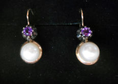 Gold earrings (14 kt) with pearls and amethysts – 1930s Hand-crafted by Italian goldsmith