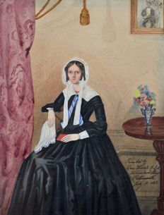 Daniel Ubsdell (19th century) - A portrait of a lady and gentleman