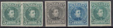 """Spain 1901–1905 – Alfonso XIII """"Cadete"""" – Edifil No. 242s, 247s, 248s, 249s"""