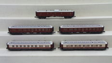 Minitrix N - 13179/13180/13181/13182 - Five Orient-Express Wagons with lighting of CIWL