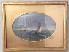 Anonymous (19/20th century) - British seascape with white cliffs and sailing boats