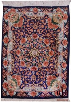 High-quality Persian carpet in silk – Quom, Iran – Handmade – 78 x 58 cm – With Certificate of Authenticity from an official appraiser – Galleria Farah 1970