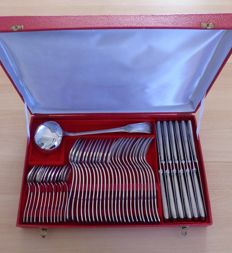 """Silverware set for 12 people, SFAM, """"empire"""" model, case with 49 pieces, 1960"""