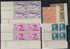 France 1930 - blocks of four corner-dated - Yvert 109, 295, 483 and PA 7.