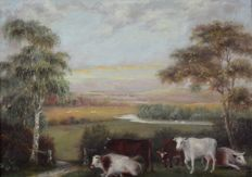 Unknown. (19th century) - A pair of rural landscape scenes with cattle.