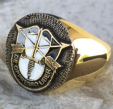 US Special Forces Ring De Opresso Liber Hypoallergenic 24k Gold Plated