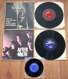 "The Rolling Stones- Great lot of 2 original UK pressings: Out Of Our Heads (UK 1965, mono, on maroon/ red unboxed Decca!) & Aftermath (UK boxed Decca, blue label, w. original inner). Plus rare 7"" in mono!"