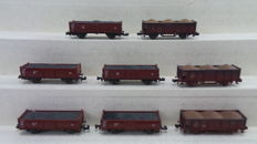 "Minitrix/Roco N - 91025/2315 - 3-Piece wagon set ""Rübentransport"" and 5 high box trucks laden with coal of the DB"