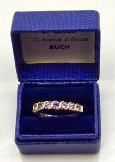 Vintage gold band ring channel set with amethyst & tourmaline