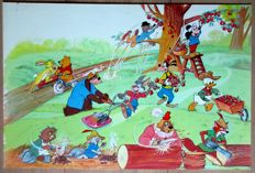 English Studio - Original gouache/watercolour for a large Disney image with many main characters (1960s/'70s)