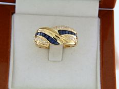 Ring in 18 kt yellow gold - sapphires - diamonds - size: 58.