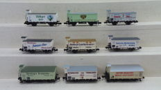 Minitrix/Arnold N - amongst others 15359/15348/0170- Nine  freight wagons with brakeman's cab of amongst others the DRG /K. Bay.Sts.B