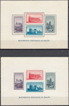 Spain 1938 – Set of block sheets with historical monuments – Edifil No. 847/848.