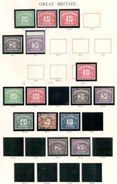 Great Britain Postage due stamps 1914/1975 - album pages and stock card.