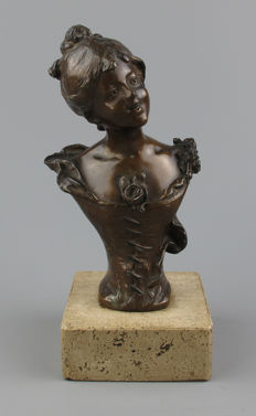 """Art Nouveau patinated metal bust of a """"laughing girl"""""""
