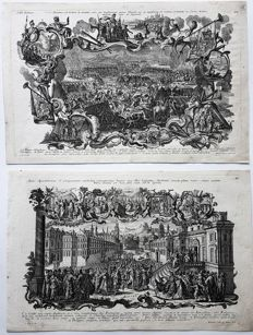 Two prints by the brothers Klauber (18th century) - historical and religious scenes - ca. 1757