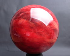 Extra large synthetic Strawberry Quartz sphere - 26.02cm - 20.40kg