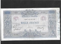 France - 1000 Francs Blue and pink type 1889 - VF+  Fayette 36/37