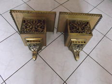 Large pair of brass corbels richly decorated - Portugal - ca. 1890-1920