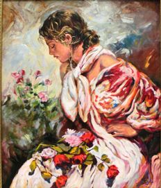 José Luis Giner (20th century) - Mujer con flores (Woman with flowers)