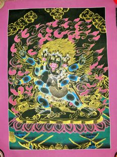 Thangka painting, representing 4 Head Mahakala- Tibet/Nepal - late 20th century