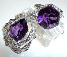 Designer set - 14 kt white gold with over 3 ct of diamonds (G/VVS) + amethysts