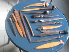 Collection of 16 wooden letter openers