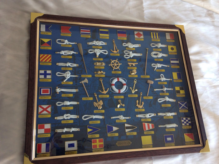 Vintage Framed Artwork with Anchors and Knots. 1970