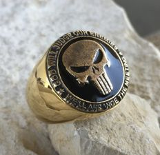 AJS Collection - Handmade USMC Marines Punisher Skull Ring Hypoallergenic 24k Gold Plated 21st Century