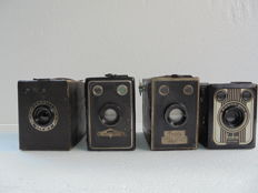 A lot of 4 box cameras, two types of Balda a Vredeborch Fodor and a Coronet Varsity No. 2 Camera.