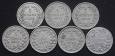 The Netherlands, 5 cent, 1850 through 1879, (seven different coins), William III – silver