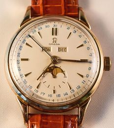 Omega-Rare-Oversize-Moonphase-Triple calendar-Men's-1950's