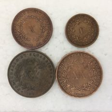 Portugal – Monarchy – D. Luis I – 4 coins – bronze -V(1), X(1) e XX(2) Réis – 1870 to 1873 – Hard to find in this condition
