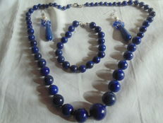 Lapis lazuli set -- necklace (64 cm), bracelet and earrings with 925/1000 sterling silver.