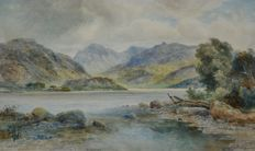 Ralph Morley (Act. 1870-1900) - A pair of watercolours of Wastwater and Elterwater, Lake District, England.