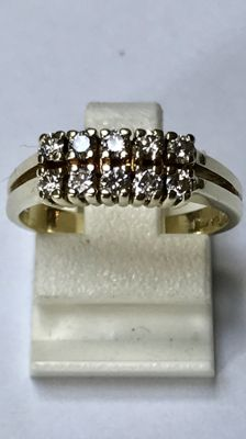 14 kt gold double-rowed ring with 10 brilliant cut diamonds - approx. 0.40 ct in total Ring size 16 (50)