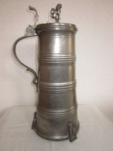 Superb old pewter mug from 1765, height 45 cm by Johann Meyer from Bremen