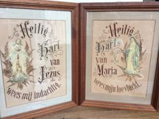2 antique religious paintings of Jesus and Mary in the early 1900s, Netherlands