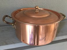 Large tinned copper pan with lid