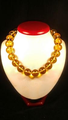 Round beads modified Baltic Amber lemon colour necklace, length 46 cm