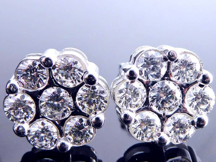 Earrings set with 14 brilliant cut diamonds, total of 1.50 ct