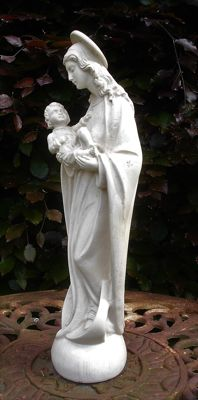 Plaster sculpture Madonna with baby Jesus, signed Guelfi