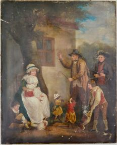 Manner of George Morland. (18th/19th century) - A man shows off his dancing dogs to a family.